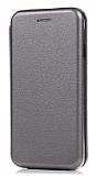 Samsung Galaxy J2 Curve Manyetik Kapaklı Silver Deri Kılıf