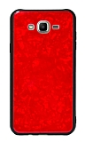 Samsung Galaxy J2 Desenli Silikon Kenarlı Kırmızı Rubber Kılıf