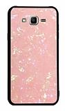 Samsung Galaxy J2 Desenli Silikon Kenarlı Pembe Rubber Kılıf
