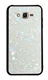 Samsung Galaxy J2 Desenli Silikon Kenarlı Beyaz Rubber Kılıf