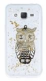 Samsung Galaxy J2 Işıltılı Baykuş Şeffaf Silikon Kılıf
