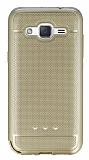 Samsung Galaxy J2 Metalik Noktalı Gold Silikon Kılıf