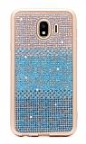 Samsung Grand Prime Pro J250F Taşlı Geçişli Mavi Silikon Kılıf