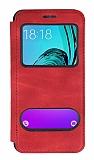 Samsung Galaxy J3 2016 Çift Pencereli Kapaklı Kırmızı Kılıf