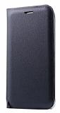 Samsung Galaxy J3 2017 Cüzdanlı Yan Kapaklı Siyah Deri Kılıf