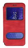 Samsung Galaxy J3 Çift Pencereli Kapaklı Kırmızı Kılıf