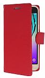 Samsung Galaxy J3 2016 Cüzdanlı Yan Kapaklı Kırmızı Deri Kılıf