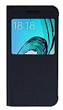 Samsung Galaxy J3 2016 Pencereli İnce Kapaklı Siyah Kılıf