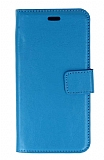 Samsung Galaxy J3 Pro Cüzdanlı Kapaklı Mavi Deri Kılıf