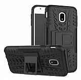 Samsung Galaxy J3 Pro 2017 Süper Koruma Standlı Siyah Kılıf