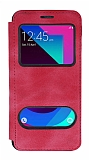 Samsung Galaxy J3 Pro Çift Pencereli Kapaklı Pembe Kılıf