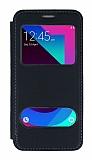 Samsung Galaxy J3 Pro Çift Pencereli Kapaklı Siyah Kılıf