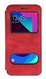 Samsung Galaxy J3 Pro Çift Pencereli Kapaklı Kırmızı Kılıf