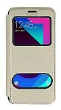 Samsung Galaxy J3 Pro Çift Pencereli Kapaklı Gold Kılıf