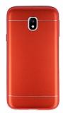 Samsung Galaxy J3 Pro 2017 Silikon Kenarlı Metal Kırmızı Kılıf