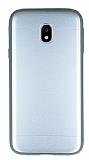 Samsung Galaxy J3 2017 Silikon Kenarlı Metal Silver Kılıf