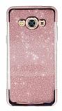 Samsung Galaxy J3 Pro Taşlı Kenarlı Simli Rose Gold Silikon Kılıf