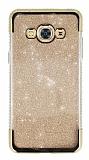 Samsung Galaxy J3 Pro Taşlı Kenarlı Simli Gold Silikon Kılıf