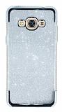 Samsung Galaxy J3 Pro Taşlı Kenarlı Simli Silver Silikon Kılıf