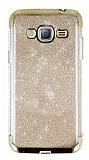 Samsung Galaxy J3 Taşlı Kenarlı Simli Gold Silikon Kılıf