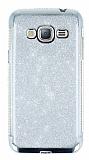 Samsung Galaxy J3 Taşlı Kenarlı Simli Silver Silikon Kılıf