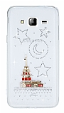 Samsung Galaxy J3 Taşlı Kız Kulesi Şeffaf Silikon Kılıf