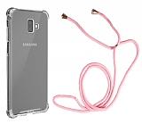 Samsung Galaxy J6 Plus Askılı Şeffaf Pembe Silikon Kılıf