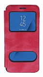 Samsung Galaxy J4 Plus Çift Pencereli Kapaklı Pembe Kılıf