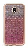 Samsung Galaxy J4 Taşlı Geçişli Pembe Silikon Kılıf
