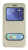 Samsung Galaxy J5 Çift Pencereli Kapaklı Gold Kılıf