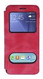 Samsung Galaxy J5 Çift Pencereli Kapaklı Pembe Kılıf