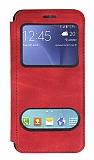 Samsung Galaxy J5 Çift Pencereli Kapaklı Kırmızı Kılıf