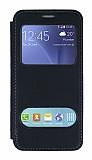 Samsung Galaxy J5 Çift Pencereli Kapaklı Siyah Kılıf