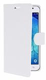 Samsung Galaxy J5 Cüzdanlı Yan Kapaklı Beyaz Deri Kılıf