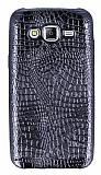 Samsung Galaxy J5 Deri Desenli Parlak Siyah Silikon Kılıf