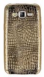 Samsung Galaxy J5 Deri Desenli Parlak Gold Silikon Kılıf