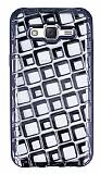 Samsung Galaxy J5 Kare Desenli Siyah Silikon Kılıf