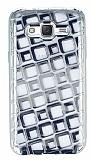 Samsung Galaxy J5 Kare Desenli Silver Silikon Kılıf