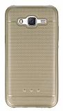 Samsung Galaxy J5 Metalik Noktal� Gold Silikon K�l�f