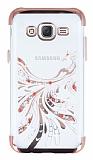 Samsung Galaxy J5 Rose Gold Peacock Taşlı Şeffaf Silikon Kılıf