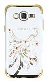 Samsung Galaxy J5 Gold Peacock Taşlı Şeffaf Silikon Kılıf