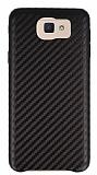 Samsung Galaxy J5 Prime Karbon Görünümlü Kahverengi Rubber Kılıf