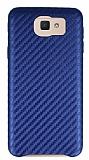 Samsung Galaxy J5 Prime Karbon Görünümlü Lacivert Rubber Kılıf