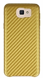 Samsung Galaxy J5 Prime Karbon Görünümlü Gold Rubber Kılıf