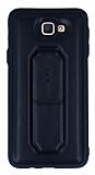 Samsung Galaxy J5 Prime Standlı Deri Siyah Silikon Kılıf