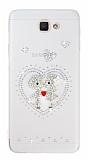 Samsung Galaxy J5 Prime Taşlı Love Şeffaf Silikon Kılıf