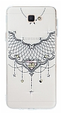 Samsung Galaxy J5 Prime Pembe Taşlı Kalp Şeffaf Silikon Kılıf