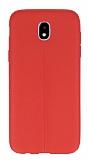 Samsung Galaxy J5 Pro 2017 Deri Desenli Ultra İnce Kırmızı Silikon Kılıf