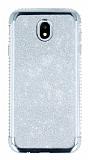 Samsung Galaxy J5 Pro 2017 Taşlı Kenarlı Simli Silver Silikon Kılıf
