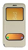 Samsung Galaxy J5 Pro 2017 Çift Pencereli Kapaklı Gold Kılıf